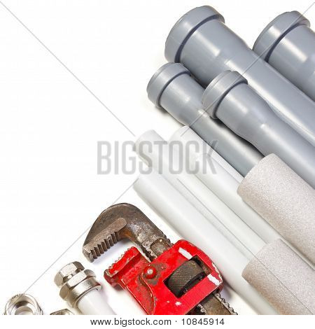 Plumbing tool pipes and fittings on white background poster