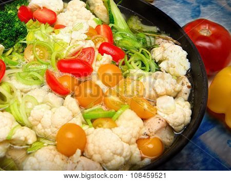 Colorful Fresh Stewed Vegetables On Pan