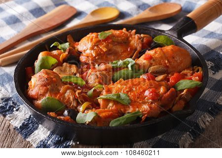 Italian Food: Chicken With Tomato And Vegetables. Horizontal