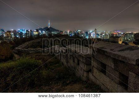 Seoul Night View From Inwangsan Fortress Wall