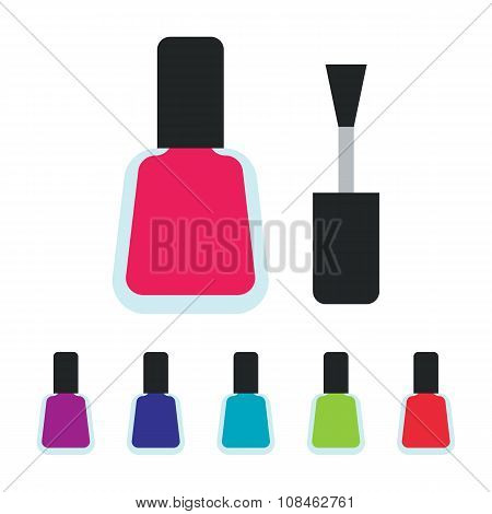 Colorful bottle containers for luxury elegant stylish manicure and pedicure