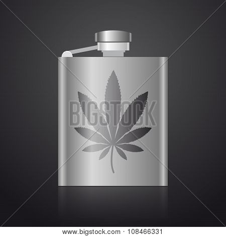Alcohol Silver Hip Flask With Weed Symbol Eps10