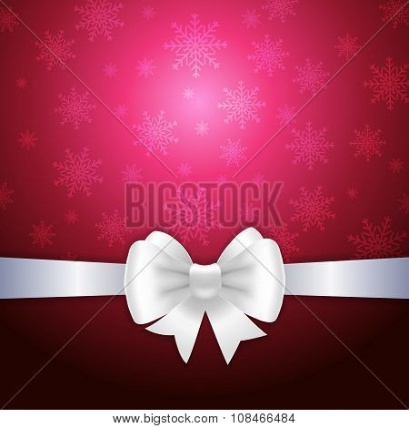 White Ribbon And Bow On Crimson Background
