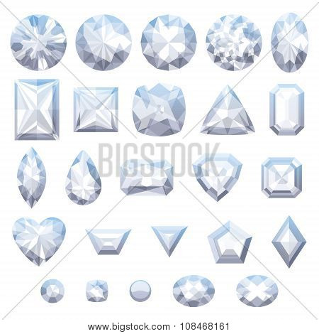 Set of realistic white jewels. Diamonds isolated.
