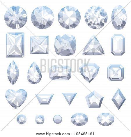 Set of realistic white jewels. Diamonds isolated.