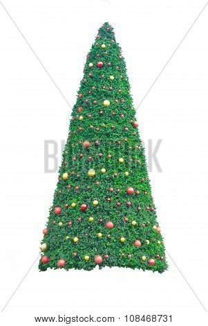 Christmas Tree With Colorful Ornaments, Isolated On White