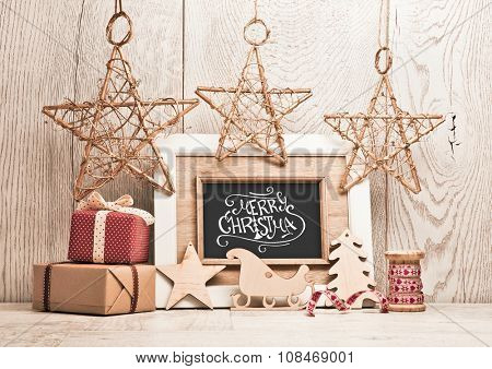 Christmas background with gifts and stars