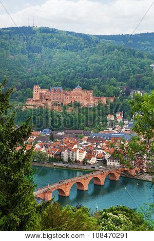 Alte Brucke bridge, Heidelberg through fir tree