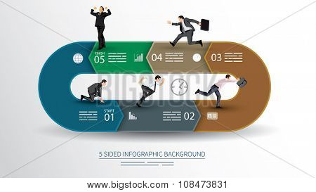 5 sided infographics background for statistics, banners, ads, websites and printed media