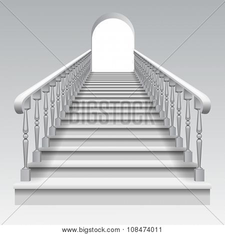 White stair with railings and archway on white background