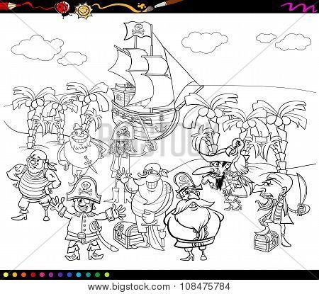 Pirates Cartoon Coloring Book