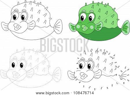 Cartoon Pufferfish. Vector Illustration. Dot To Dot Game For Kids