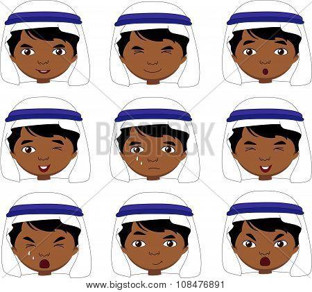 Muslim Boy In A Keffiyeh Emotions: Joy, Surprise, Fear, Sadness, Sorrow, Crying, Laughing, Cunning,