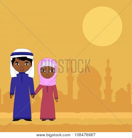 Girl And Boy Standing On A Background Of The Muslim City