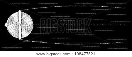 Sputnik Chalk Drawing