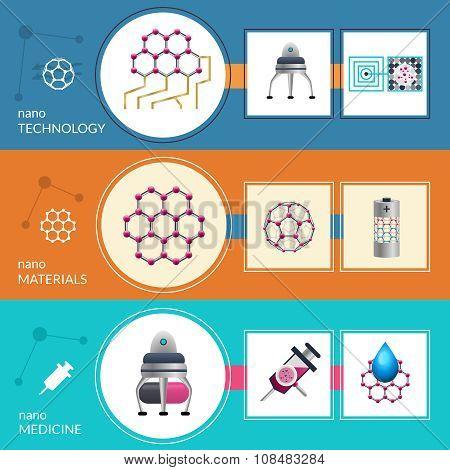 Nanotechnology concept 3 flat banners set