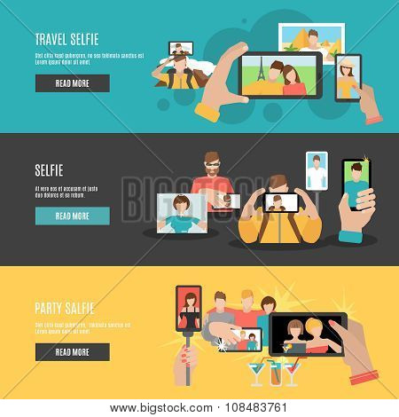 Travel and party selfie with friends interactive webpage 3 flat horizontal banners set abstract isolated vector illustration poster