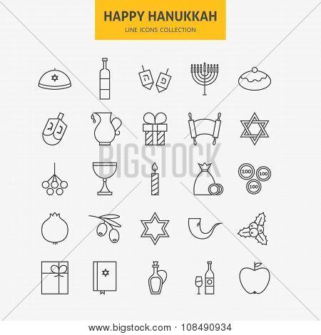 Line Jewish Happy Hanukkah Icons Big Set