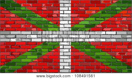 Grunge Flag Of Basque On A Brick Wall.eps