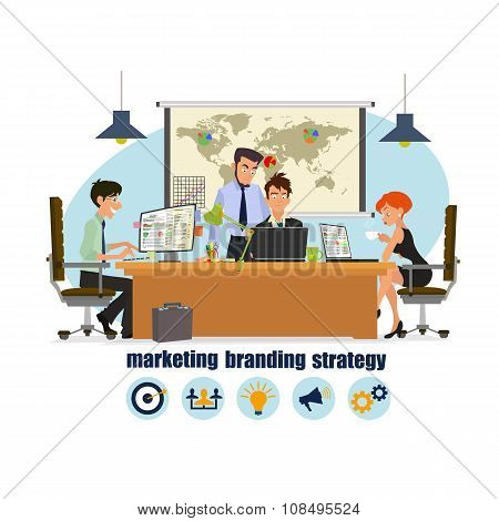 Concept of the coworking center. Business meeting. Shared working environment. people work discuss and communicate in the office.discuss marketing strategy and branding company. Vector poster