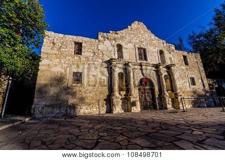 Interesting Perspective of the Historic Alamo, San Antonio, Texas.