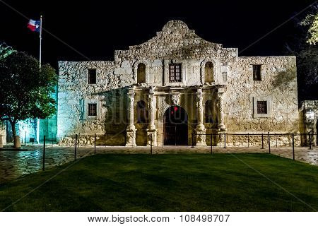Night Shot of the Historic and Famous ALAMO, in Texas