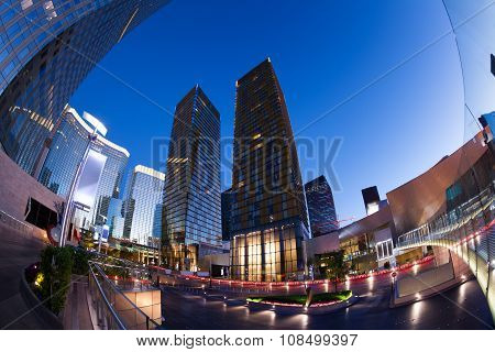 Business centre during night time in Las Vegas