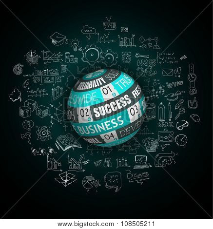Success in Business conceptual background with a threedimentional sphere over a infographics hand drawn doodle sketches background.