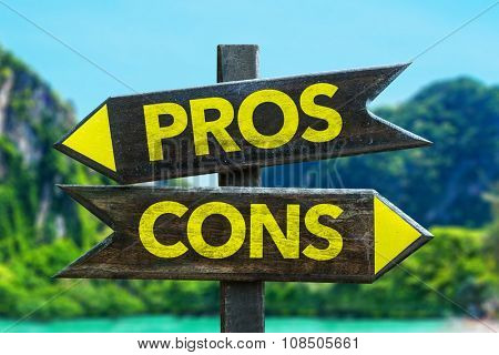 Pros Cons signpost in a beach background