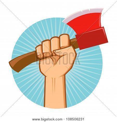 Hand Holding Lumber Axe