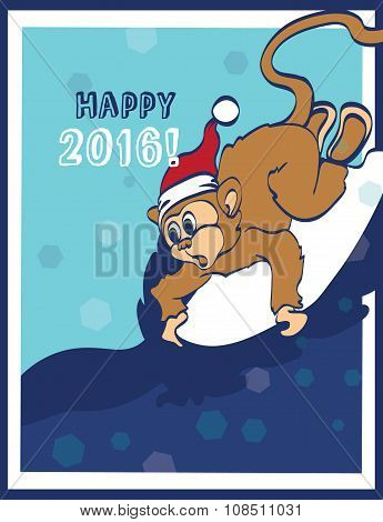 Vector Happy Surfing New Year Monkey Holiday Greeting Card Design. 2016. Celebration. Surf board. Ch