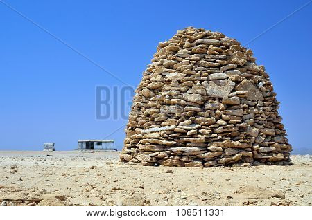 piles of stones in the desert