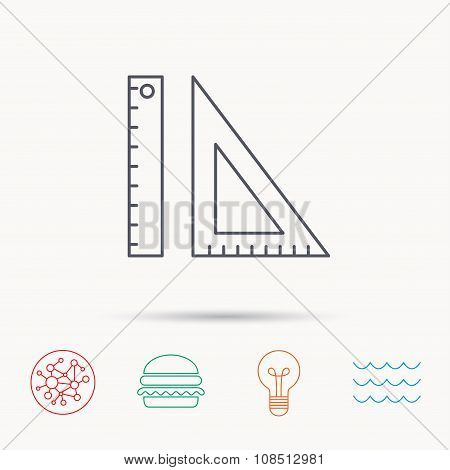 Triangular ruler icon. Geometric school supplies symbol. Global connect network, ocean wave and burger icons. Lightbulb lamp symbol. poster