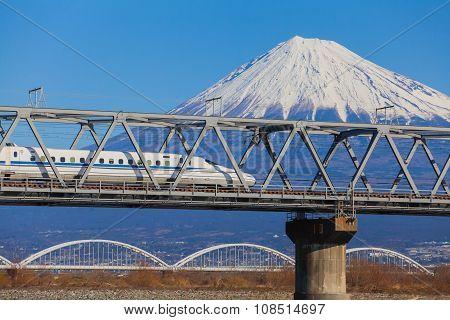 View of Mt Fuji and Tokaido Shinkansen Shizuoka Japan