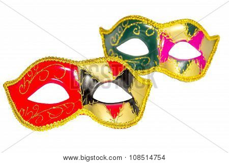 Two Venetian Carnival Half-mask Gold Red Green Black Pink Asymmetry Pattern