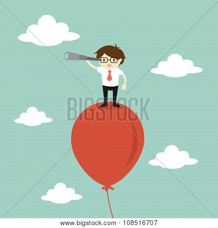 Business concept, Businessman using his telescope looking for something in the sky. Vector illustration. poster