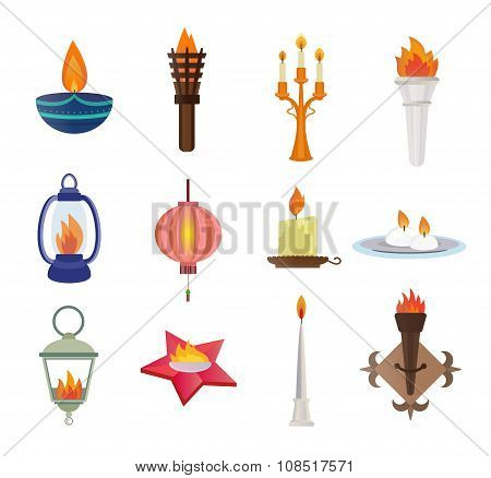 Flat style candles and flames vector collection