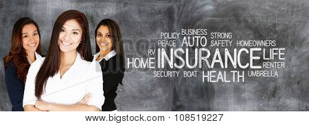 Female insurance agent who is happy to be working