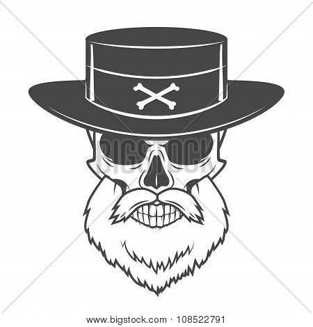 Head hunter skull with beard and hat vector. Rover logo template. Bearded old man t-shirt design.