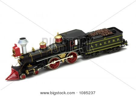 atchison topeka and santa fe steam passenger locomotive (circa 1895) - electric model isolated on white poster