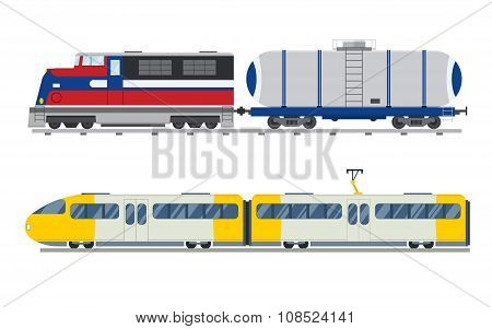 Passenger and transportation trains vector collection