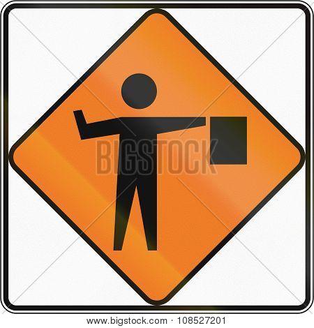 New Zealand Road Sign - Flagman Ahead