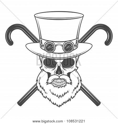 Old bearded steampunk gentleman skull with goggles and cylinder hat