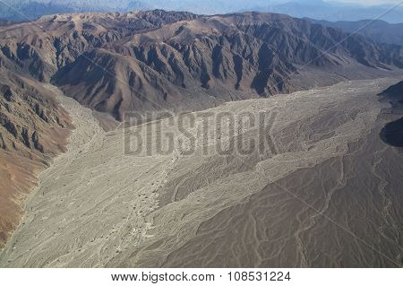 Aerial View Of Pampas De Jumana Near Nazca, Peru.