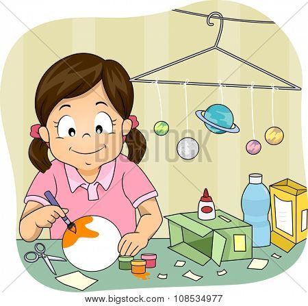 Illustration of a Little Girl Making a Homemade Solar System Model