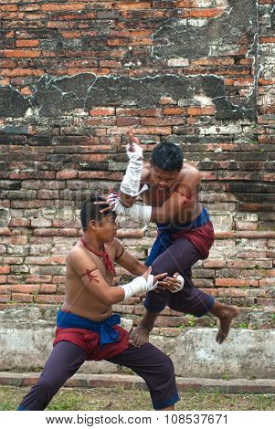 Fighters Take Part In An Outdoor Muay Boran.