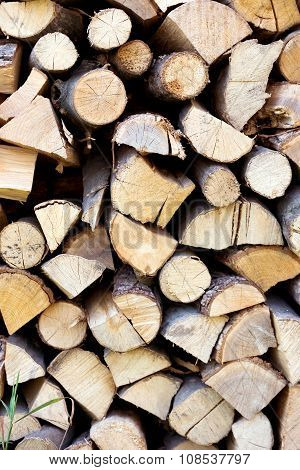 Fire wood background texture firewood in a pile poster