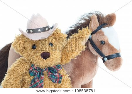 Cowboy Teddy Bear And Horses