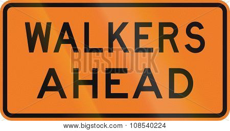 New Zealand road sign - Walkers ahead. poster