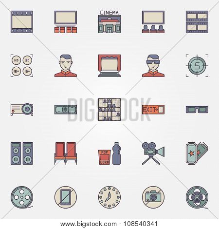 Cinema colorful icons